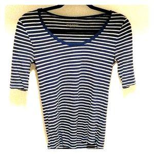 Half sleeve royal blue striped shirt